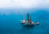 Offshore oil rig drilling platform in the gulf of Thailand